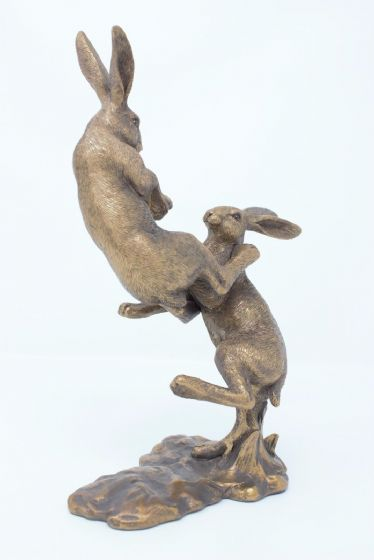Leonardo Reflections Bronzed Fighting March Hares Ornament Gift Wildlife Figure